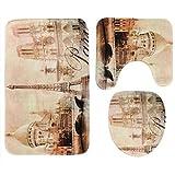 Teckpeak 3Piezas Tejido de Franela Alfombra de baño Alfombra Conjunto baño Set–de la Torre Eiffel