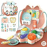 Pulchram Küche Spielzeug Lebensmittel Spielset Rollenspiele ,21 Stücke Lernspielzeug Spiele ab 3 Jahren für Jungen und Mädchen