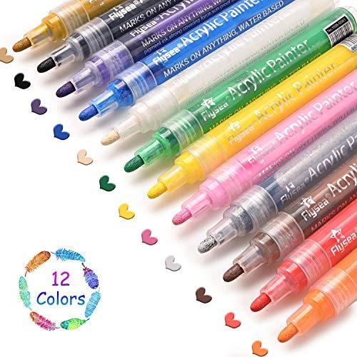 Rotuladores de Pintura Acrílica, 12 Colores Permanente Marcadores Dibujar, para Piedra, Roca, Tela, Metal, Vidrio, Diseñar Taza de Cerámica, Scrapbooking (12 color)