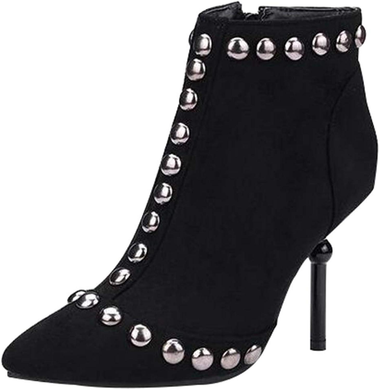 QVRGE Damen Stiefeletten Mode Persnlichkeit Nieten Hochhackigen Stiefel