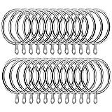 SelfTek 24 anillos de cortina de metal de 42 mm de diámetro interior, gran barra de cortina para cortinas y barras