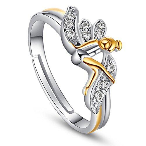 Sweetiee Anillo de dedo de plata de ley 925, chapado en oro con micro pavimentación de...