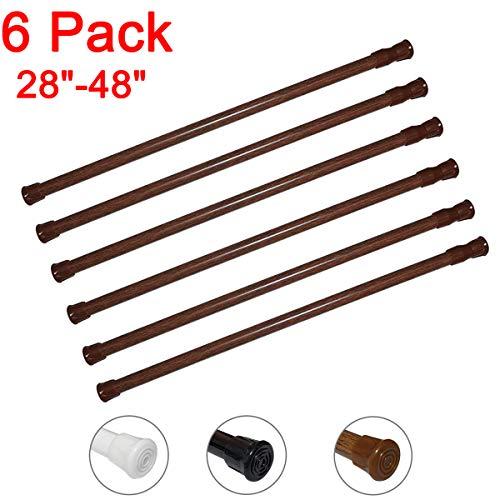 6 Pack Spring Tension Curtain Rod Adjustable Length for Kitchen, Bathroom, Cupboard, Wardrobe, Window, Bookshelf DIY Projects (Wood Grain - 6 Pack,28' to 48' Adjustable)