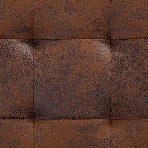 vidaXL Ottoman mit Stauraum Sitzhocker Sitzwürfel Sitzbank Aufbewahrungsbox Hocker Truhenbank Sitztruhe Truhe Sitzbox 87,5cm Braun Wildleder-Optik - 2