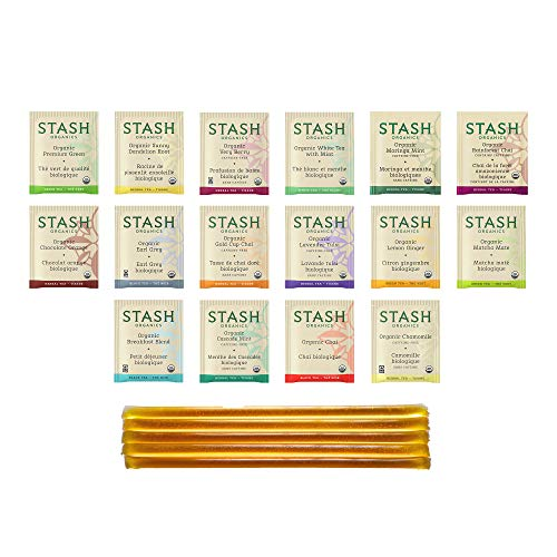 Stash Organic Tea Sampler - Variety Box Gift Set Assortment - Black, White, Green & Herbal Tea Bags - 16 Flavors (48 Count), with 5 Star Thistle Honey Sticks