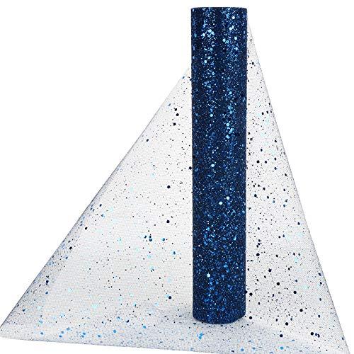 10yardes Rollo Tul Tela Tul Carrete Tulle Ancho 30cm Decoración Hogar Navidad Fiesta Manualidades Camino Mesa Envolver Regalos Cinta Lazos Falda Azul Oscuro