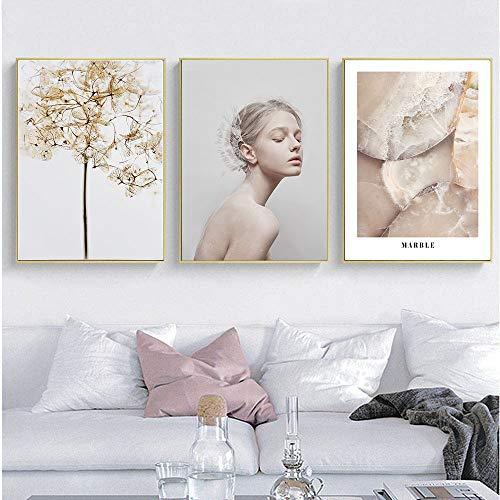 Nordic muurkunst poster canvasdruk eenvoudig in pop-stijl meisjes schilderij Scandinavisch decoratief schilderij woonkamer decoratie