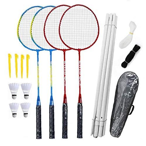 Canjerusof Badmintonschläger Set-4 Person Badminton Set mit Net für Garten Easy Setup Badminton-Set für Erwachsene Kinder Kinder Familie