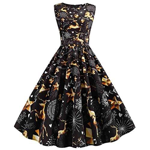 Binggong Kleid Damen Ärmellos Weihnachtskleid,A-Linie Swing Partykleid RundhalsRockabilly...