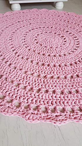 Teppich Häkelteppich rund Kinderteppich Kinderzimmer rosa babyrosa Mandala 100 cm