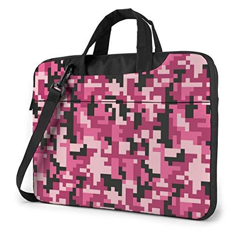 Fashion Pink Pixel Camo Fashion Laptop Case Laptop Shoulder Messenger Bag Sleeve for 15.6 Inch