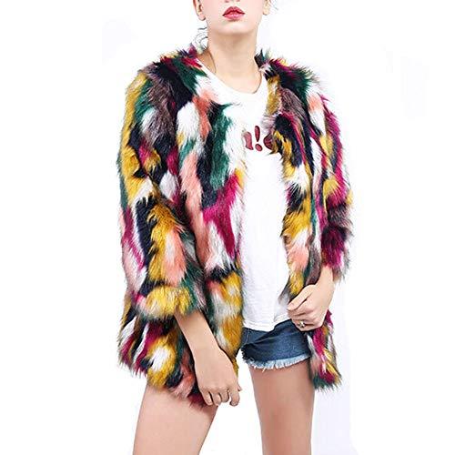 WTDlove Kunstfell-Jacke warm Mode MIDI-Mantel Farbe Fell Farbe Block Winterjacke im Winter einen Hauch von Hellen Farben