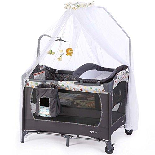 Table à Langer, Lit bébé Portable Gris, Lit Pliable pour Enfants, Shaker Amovible, Moustiquaire + Table à Langer + Rack + Support à Jouets