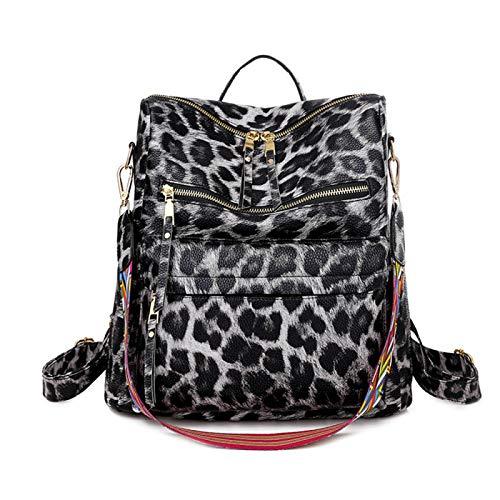 Mochila con estampado de leopardo, ligera, de piel sintética, de moda, para llevar al hombro, de viaje, multicolor
