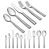 Homikit 45-Piece Silverware Set with Serving Utensils, Stainless Steel Hammered Square Flatware Cutlery Set for 8, Fancy Eating Utensils Tableware Sets Include Knife Fork Spoon, Dishwasher Safe
