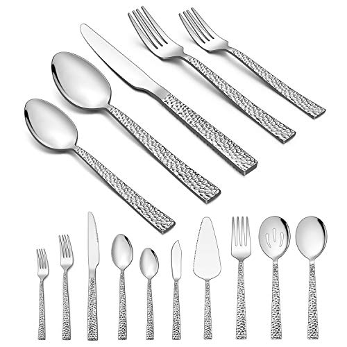 Homikit 65-Piece Silverware Set with Serving Utensils, Stainless Steel Hammered Square Flatware Cutlery Set for 12, Fancy Eating Utensils Tableware Sets Include Knife Fork Spoon, Dishwasher Safe