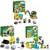 LEGO10931DuploTownCamiónyExcavadoraconOrugasJuguetedeConstrucción + 10930DuploTownBuldócer + 10945 Camión de Residuos y Reciclaje
