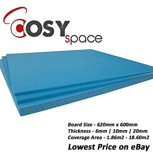 XPS Bretter Boden Unterlage Thermo Isolierung Fußbodenheizung 620 x 600mm x 6mm Blätter - 1.86m2 Zu 18.60m2 - Blau, 14.88 m2