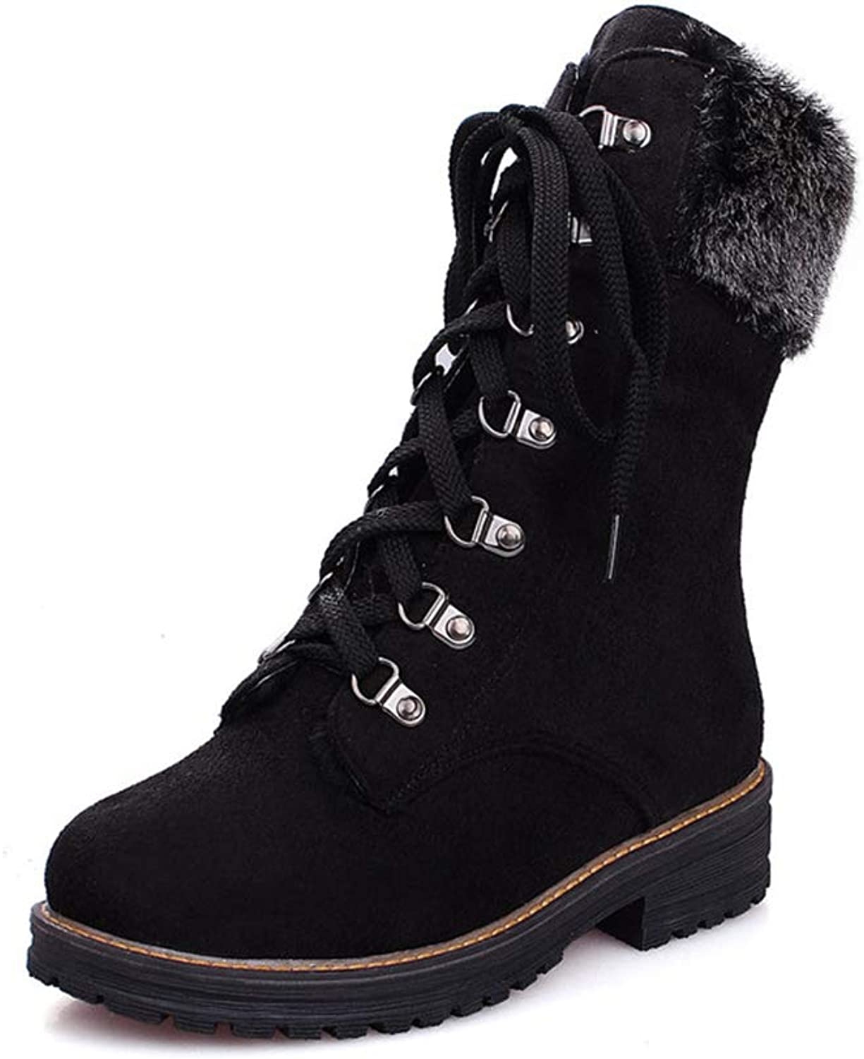 T-JULY Ankle Boots Women Round Toe Flock Comfortable Winter Snow Boots Lace up Square Heels Casual shoes