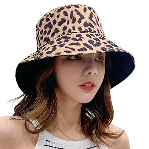 CHIC DIARY Faltbar Sonnenhut mit Leopard Muster Strandhut Beidseitig Tragbar UV Schutz Sommer Mütze Fischerhut Damen Mädchen