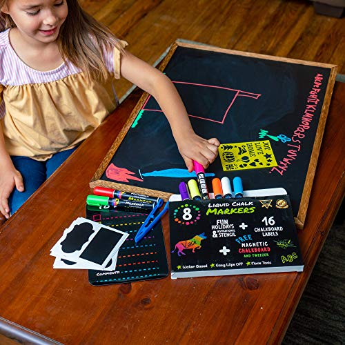 Chalk Markers by Vaci, Pack of 8 + Magnetic Chalkboard + Drawing Stencils + 16 Labels, Premium Liquid Chalkboard Neon Pens, Bullet or Chisel Reversible Tips