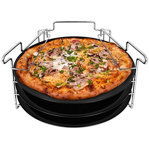 TW24 Pizzablech Set 4tlg. mit Ständer Pizzabackblech 31,5 cm rund Pizza Backblech Flammkuchenblech Pizzahalter
