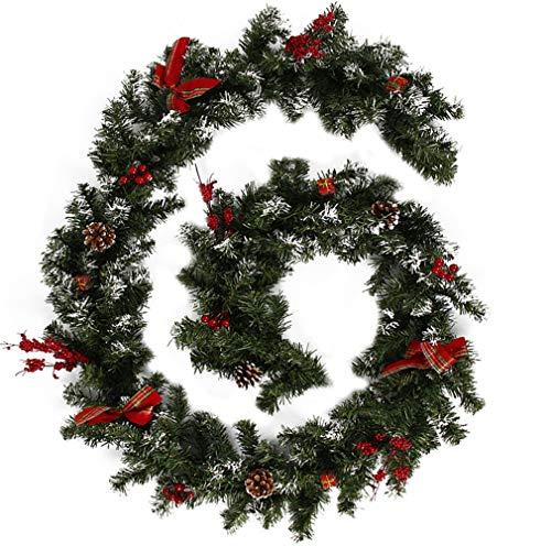 summerkimy - Guirnalda navideña preiluminada para escaleras, Chimenea, Nieve esmerilada con piñas de Pino con Bayas y Lazo, Corona de Navidad Artificial, En Caja de Regalo, 2.7M
