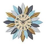 XIANGGUI 1983 Reloj de Cuarzo de Pared Forma de Hoja Moderna Decorativa Reloj de Pared Reloj de Pared Redondo Reloj Reloj de Cuarzo Dormitorio Cocina silenciosa Pared Reloj Grande tamaño Decorar La