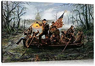 Artwu Donald Trump,Crossing,The Swamp Wall Art Home Wall Decorations for Bedroom Living Room Oil Paintings Canvas Prints (Framed,24x36 inch)