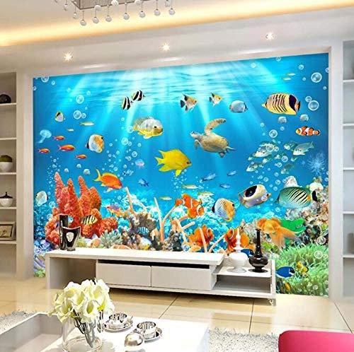 3D vliesbehang fotovlies premium fotobehang behang onderwaterwereld vis koraal kinderkamer woonkamer wanddecoratie 200*140 200 x 140 cm.