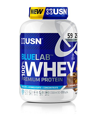 USN Whey Protein Powder: Blue Lab Whey Chocolate Caramel 2 kg, Post Workout Muscle Recovery