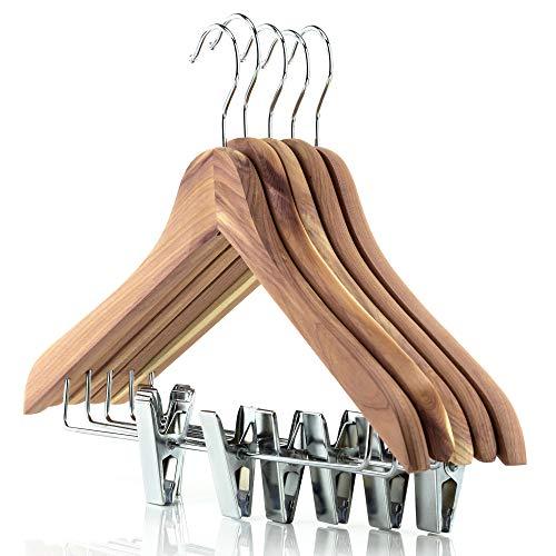 Hangerworld 10 Perchas 44cm Madera de Cedro Antipolilla Pinzas de Metal para Pantalones y Faldas