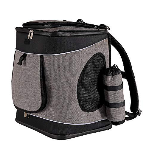 lionto by dibea Hunderucksack Katzenrucksack faltbare Hundetransporttasche Haustiertragetasche Farbe grau/schwarz