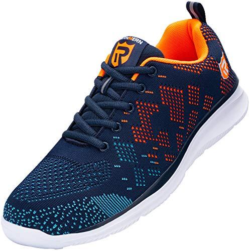 LARNMERN Steel Toe Shoes Women Men Shoes Lightweight Puncture Proof Breathable Sneakers Construction Indestrutible Safety Work Slip Resistant Shoe 112K(9 Men, Blue&Orange)