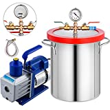 Bestauto 5 Gallon Vacuum Degassing Chamber Kit Stainless Steel Degassing Chamber Kit 18L Vacuum Chamber Kit with 5 CFM 1/2HP Single-Stage Vacuum Pump(5 CFM Vacuum Pump + 5 Gallon Vacuum Chamber)
