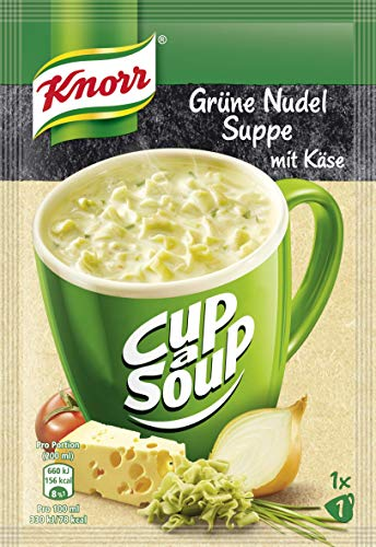 Knorr Cup a Soup Fertigsuppe Grüne Nudel Suppe mit Käse, 16er Pack (16 x 40g)