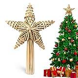 Decoración natural para árbol de Navidad, diseño de estrellas de árbol de Navidad en 3D hecha de paja para adorno de vacaciones o decoración del hogar, 30 cm, hecho a mano