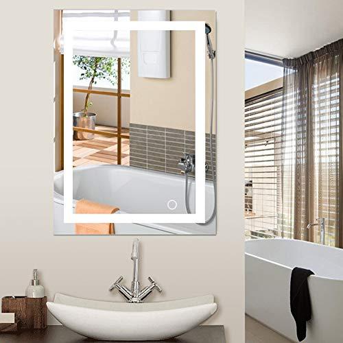 Miroir de Salle de Bains, Miroir de Maquillage de bâti de Mur de LED 5050 avec Le Bouton de Contact Nouveau pour la Salle de Bains d'hôtel à la Maison élégante (50x70cm)