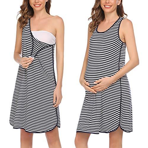 Evanhome Damen Unterkleid Gestreift Nachthemd Ärmellos Umstandskleidung Kurz Stillnachthemd Geburt Stillkleid Umstandskleid