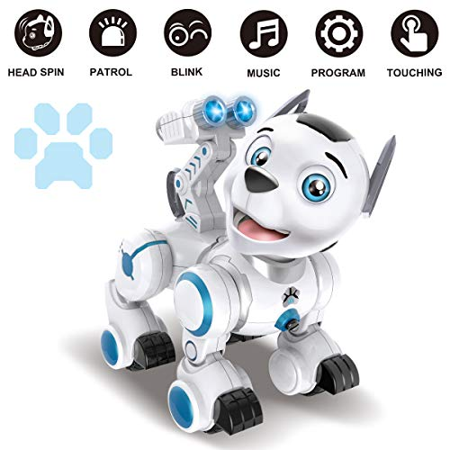 Fisca Remote Control Robotic Dog RC Interactive Intelligent Walking Dancing Programmable Robot Puppy Toy Electronic Pets with Light and Sound for Kids Boys Girls Age 6, 7, 8, 9, 10 and Up Years Old