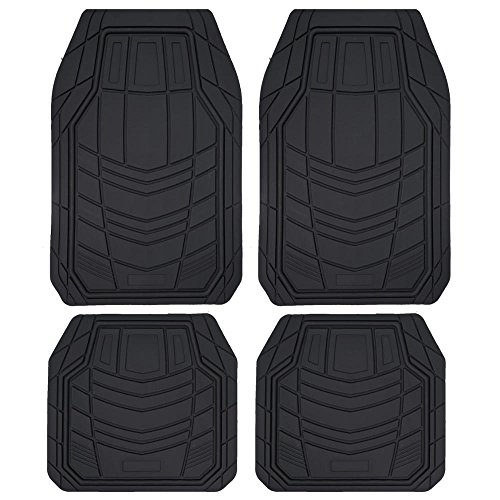 BDK TransTech Rubber Floor Mats - Heavy Duty Rubber Liners All Weather for Cars Trucks & SUVs - Black