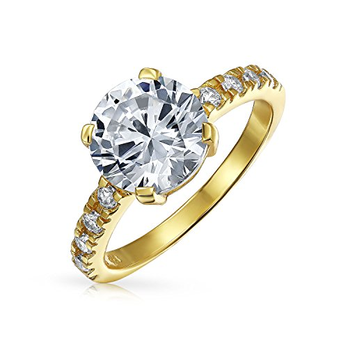 4CT Round Brilliant Solitaire CZ Cubic Zirconia Engagement Ring Thin Pave Band 14K Yellow Gold Plated Sterling Silver