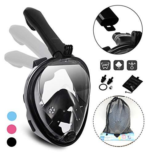 Athyior Máscara Buceo Snorkel Cara Adultos Jóvenes Máscara Facial Completa 180 ° Vista Completa Máscara de Snorkel Anti-Vaho Anti-Fuga Cámara GoPro