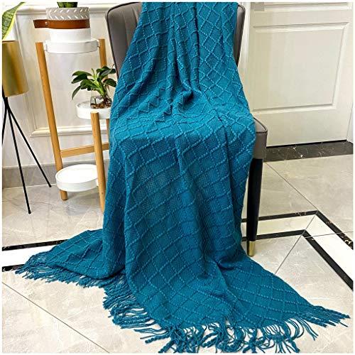 N / A Rautenförmige Quaste, gewebte Decken, Acrylfaser, leicht & super weich, für Sessel, Tagesdecken, ältere Menschen & Kinder, 170 x 127 cm, blau