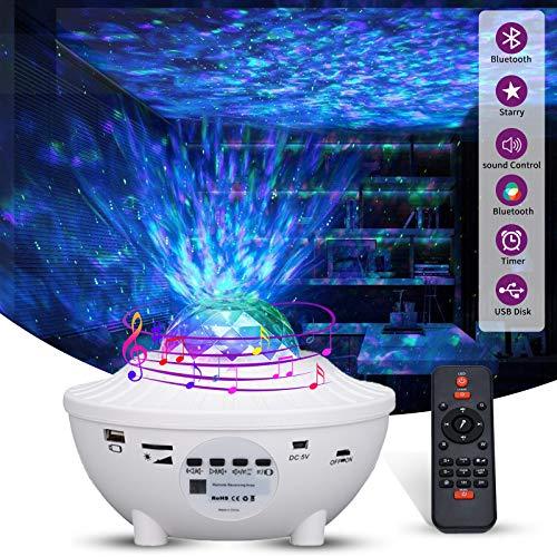 Lampada Proiettore Stelle,10 Modalità LED Luce Proiezione con Funzione di Timer, LED Lampada Musicale Romantica Cielo Stellato con Altoparlante Bluetooth...