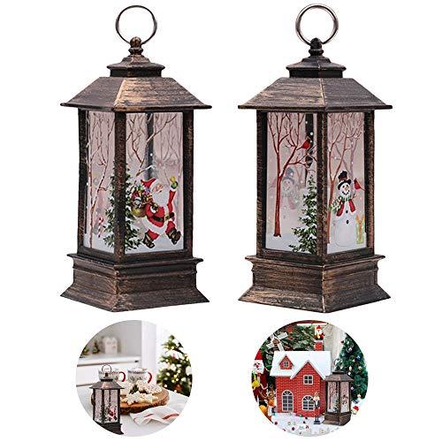 Lifreer - Decorazioni natalizie in vendita, 2 pezzi, decorazioni natalizie, candele di Natale vintage con luce a LED, Babbo Natale e pupazzo di neve, per Natale, inverno, festa