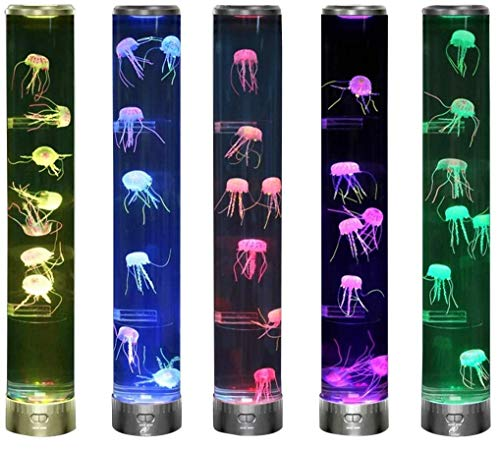 Lightahead LED Jellyfish Aqua Mood Lamp with 5 Color Changing Light Effects .The Ultimate Extra Large Sensory Synthetic Jelly Fish Tank Aquarium Mood Lamp. Ideal Gift (Extra Large)