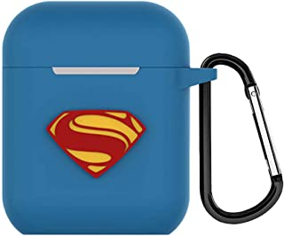 AirPods Case Cover Apple Airpods Case Keychain Justice League Protective Silicone Cartoon Cute Cases for AirPods Compatible with Apple AirPods 2 and 1 (Superman)