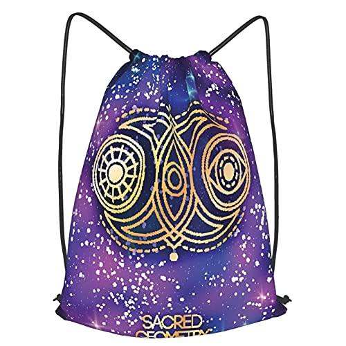 Mochilas de Cuerdas, Emblema de geometría sagrada con luna sol y ojo Unisex Mochila con cordón, para Yoga niños Gimnasio Viajar Bolsa Deporte