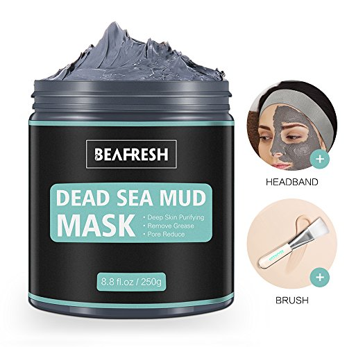 Natural Dead Sea Mud Mask - Headband & Brush Included for Face and Body Cleansing Relaxing Detox Treatment Reduce Pores Purifying Face Mask for Acne Blackheads Oily Skin